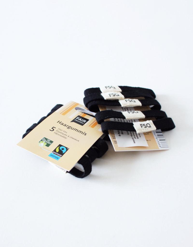 Bløde Fairtrade hårelastikker af økologisk bomuld og naturgummi